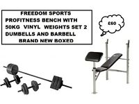 PROFITNESS BENCH WITH CURL 50KG VINYL WEIGHTS SET 2 DUMBELLS BARBELL BNB