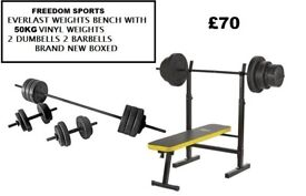 Everlast Folding Bench With 50kg Weights 2 DUMBELLS 1 BARBELL RRP 129.99 OUR £70