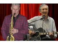 Singer/ guitarist and sax/ blues harp player, 60's to 80's oldies, jazz, folk, pop, blues