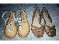 Ladies Sandals x 2 Pairs, Tan Open Toed Flats and Gold Thong Sandals. UK Size 7