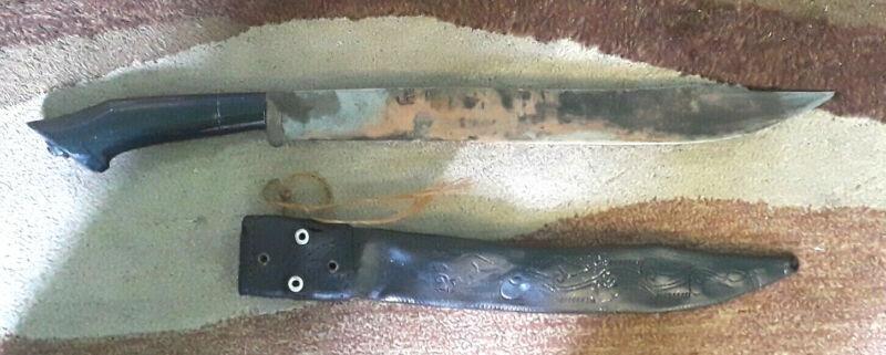 Pinuti Philippines Antique Sword Blade Machete Leather sheath Scabbard