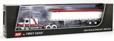 DCP 1:64 WHITE RED Peterbilt 389 Semi WHITE Lode King Distinction Grain Trailer