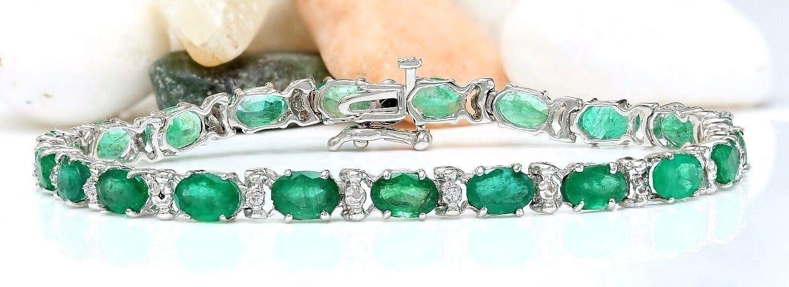 12.20 Carat Natural Emerald 14K Solid White Gold Diamond Bracelet