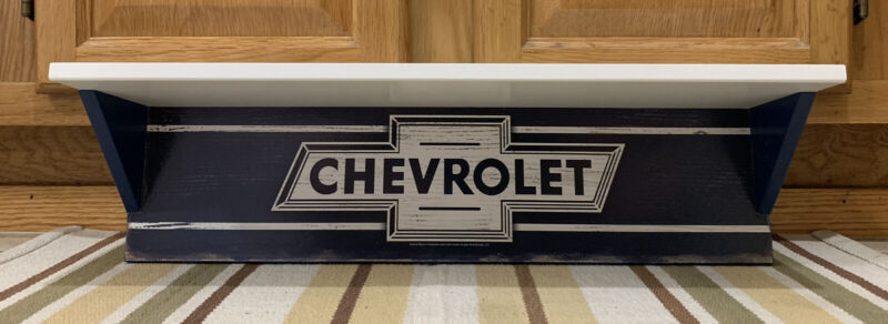 Chevrolet Shelf Sign Wooden Wall Decor Vintage Style Gas Oil Can Display Parts