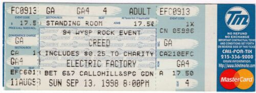 VINTAGE UNUSED CREED CONCERT TICKET - ELECTRIC FACTORY - PHILLY - 1998 - 94WYSP