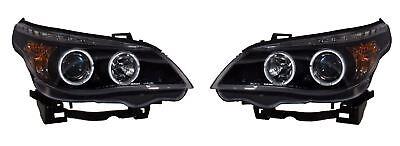 BMW 5 SERIES E60, E61 2003-2007 HEADLIGHTS - BLACK ANGEL EYES