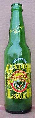 GROWLIN' GATOR BEER, Painted label BOTTLE, Auburndale, FLORIDA, Alligator, ACL