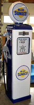 NEW BLUE SUNOCO REPRODUCTION GAS PUMP - ANTIQUE OIL RETRO REPLICA - FREE SHIP*