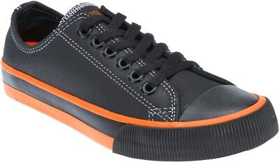 HARLEY-DAVIDSON FOOTWEAR Men's Roarke Black & Orange Leather Casual Shoes covid 19 (Orange Leather Footwear coronavirus)