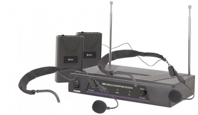 QTX 171.819 VN2 Dual Neckband VHF Wireless Microphone System 50 Metre Range New