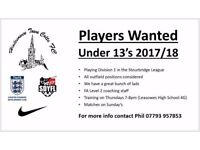 Football Players Wanted (U13's - School Year 8)