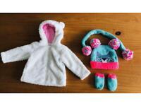 Next & Bluezoo baby girls hat & fluffy jacket 6-9 months