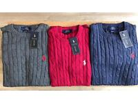 MENS RALHP LAUREN CABLE SWEATERS IN 3 COLOURS FOR CHEAP PRICE !!!