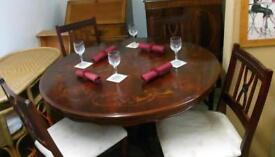 Wonderful Italian Design , Round Dark Wood Ornate Pedestal DiningTable & 4 Chairs