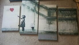 """Banksy Wall Art Canvas """"there's always hope"""""""