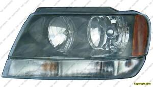 Head Lamp Driver Side Black Housing Jeep Grand Cherokee 2002-2003