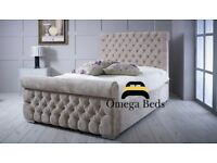 """Emerald Upholstered Luxury Sleigh 4ft 6"""" Double Bed"""