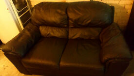 BROWN 2 X 2 SEATER LEATHER SOFAS ULTIMATE COMFORT AND MODERN DESIGN BOTH 63 INCHES LONG