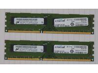 8 GB (2 X 4GB modules) Crucial DDR3 1333 desktop RAM.