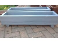 Two grey handmade planters for sale. Made from reclaimed decking