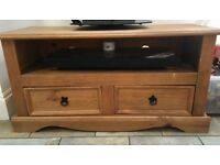 Pine tv cabinet, two draws.
