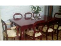 **MAKE AN OFFER** Beautiful Colonial Style Mahogany Detailed 8 Seater Dining Table and Chairs