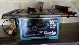 "Clarke woodworker 10"" table saw"