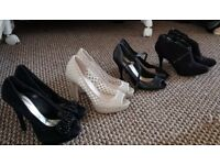 4 Pairs of size 4/37 shoes/heels