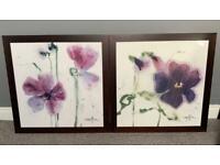 'Iris I' & 'Iris II' Floral Art Print Paintings by Marthe - each print 80cm x 80cm