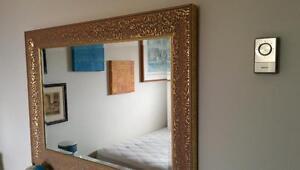Huge Mirror Crystal  with a golden Vintage frame
