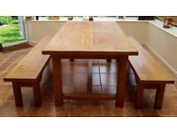 Solid Oak Extendable Dining table + 2 Matching Oak Benches