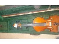 New 4/4 fullsize violin with case, rosin and bow.