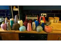 Large lot of knitting machine wool 17 cones