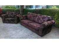 Lovely chocolate Brown 3 seater Sofa & snuggle sofa - Can Deliver