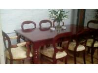 Beautiful Colonial Style Mahogany Detailed 8 Seater Dining Table and Chairs
