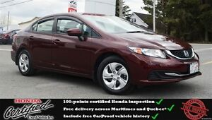 2015 Honda Civic LX, Low Mileage, Backup camera, One Owner !!!