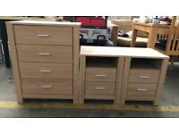 Solid Wood Chest of Drawers & 2 Bedside Cabinets