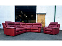Natuzzi cinema dark red leather motorised recliner corner sofa and chair DELIVERY AVAILABLE