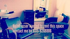 Hairdresser wanted to rent a chair within my salon. Also nails technician wanted part time