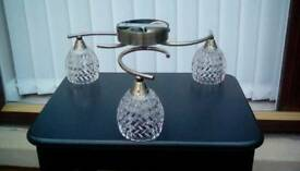 Two 3 arm Halogen Antique Bronze Ceiling lights with glass shades