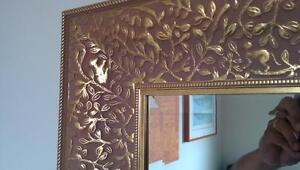 Huge Mirror Crystal  with a golden Vintage frame