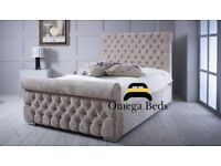 Emerald Upholstered Luxury Sleigh 6ft Super King Size Bed