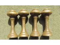 Curtain hold or stay back posts, two pair in gold.