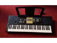 Yamaha YPT-220 electric keyboard grand piano organ drums reverb FX with music rest and power supply
