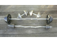 Golds Gym Barbell, EZ Curl bar and dumbbells with a variety of standard plates £1/kg or less
