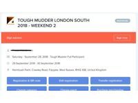 2 TICKETS! TOUGH MUDDER LONDON SOUTH 2018 - WEEKEND 2 Saturday - September 29th