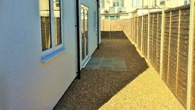 2 bed modern patio flat. Electric, gas & water bills included, unfurnished. AVAILABLE 28.04.17