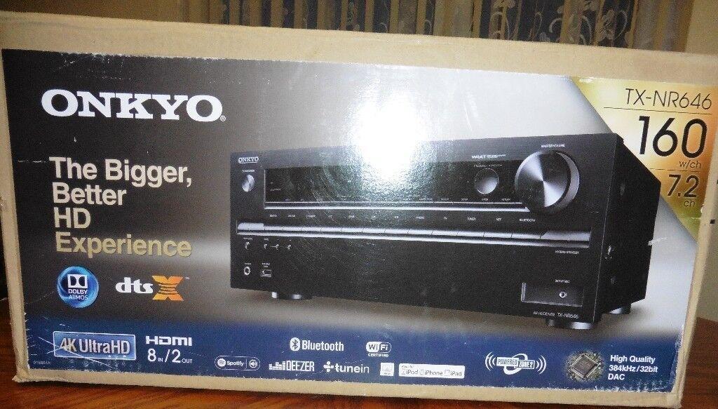 amp ONKYO TX-NR646 7 2Ch 4k ATMOS DTS-X warranty until 2021 | in Plymouth,  Devon | Gumtree