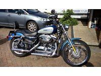 Harley Davidson Sportster 1200 Custom - blue, silver and chrome