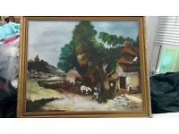 Lovely vintage oil on canvas of welsh farm